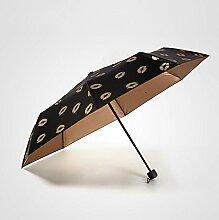 Schwarz Leim Sonnenschirm Sonnenschutz Anti-UV-Falten regensicherer Regenschirm