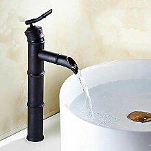 Schwarz Messing Wasserfall Waschbecken Wasserhahn