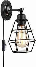Schwarz Metall Wandlampe, Retro Industrie Design