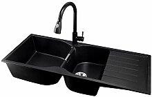 Schwarz Quarz-Stein 2,0 Schüssel Küchenspüle