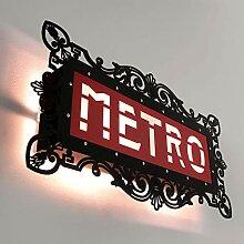Schwarz Rote Wandlampe Paris Metro Schild 46cm x