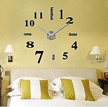 Schwarz Silber 3D Stereo Diy Fashion Einfache Clock Wall Sticker Clock Innotime Heimtextilien Zubehör 7 Zoll, Schwarz
