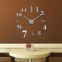 Schwarz Silber 3D Stereo Diy Fashion Einfache Clock Wall Sticker Clock Innotime Heimtextilien Zubehör 7 Zoll, silbrig