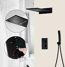 Schwarz Thermostat Duscharmaturen/Wasserfall