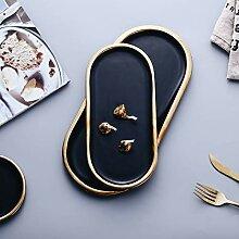 Schwarz und Golden Strokes Keramikplatten Geschirr