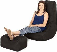 Schwarz Wasserfest Außenbereich Gaming Sitzsack Highback Lounger Sessel und Fußhocker