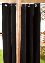 Schwarz Wasserfest Gebrauchsfertig Außen Ösenvorhang 139.7cmx182.9cm Gartenlaube Sommer Haus