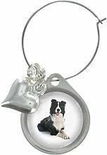 schwarz & weiß Border-Collie Hund Bild Design Weinglas Anhänger mit schickem Perlen