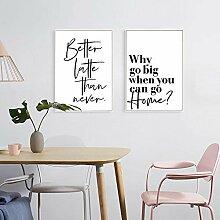 Schwarz-Weiß-Plakat Nordisches einfaches Zitat