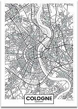 Schwarz Weiß Wort Poster Stadtplan Köln Druck