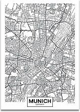 Schwarz Weiß Wort Poster Stadtplan München Druck