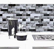 Schwarz-weiße Tapete für Küche, 30 x 1000 cm,