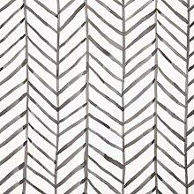 Schwarz-weiße Tapete mit Fischgrätenmuster,