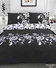 Schwarz-Weißes Bettwäsche-Set, Polyester,