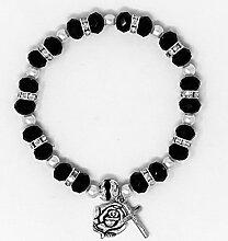 Schwarz Wundertätige Medaille Rosenkranz Armband,