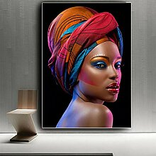Schwarzafrikanerin Rote Lippen Leinwand Malerei