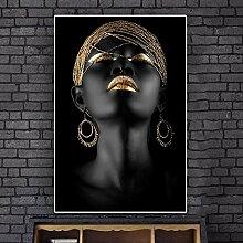 Schwarzafrikanische Betrachterin, die auf