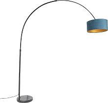 Schwarze Bogenlampe mit Veloursschirm blau mit
