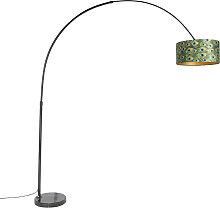 Schwarze Bogenlampe mit Veloursschirm Pfau mit