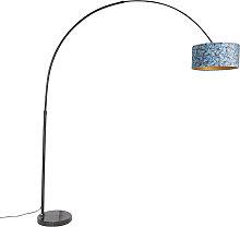 Schwarze Bogenlampe mit Veloursschirm