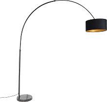 Schwarze Bogenlampe mit Veloursschirm schwarz mit