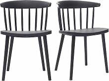 Schwarze Design-Stühle mit Leisten innen/außen