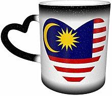 Schwarze Flagge von Malaysia Herz Farbe Ändern