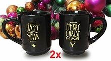Schwarze Glühweinbecher Weihnachtsbecher aus Keramik - Zwei Stück