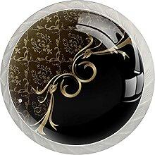 Schwarze goldene abstrakte Figur Küchenknopf
