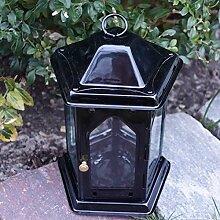 Schwarze Grablaterne mit Tür und Hänger. H 19cm. 1 Stück