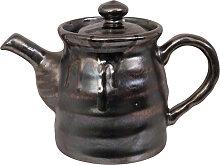 Schwarze handgemachte Teekanne mit Edelstahlsieb -