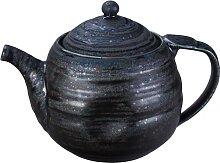 Schwarze handgemachte Teekanne mit Edelstahlsieb