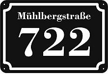 Schwarze Hausnummer und Straße Schild 2mm