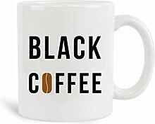 Schwarze Kaffeetasse, 312 ml, Keramik, weiße