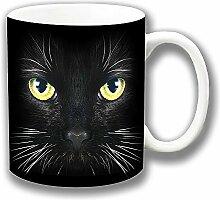 Schwarze Katze Gelb Grün Ösen Weiß Schnurrhaare Foto Druck Keramik Tee Kaffee Tasse Einzigartige Geschenkidee