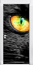 schwarze Katze mit magischen Augen schwarz/weiß als Türtapete, Format: 200x90cm, Türbild, Türaufkleber, Tür Deko, Türsticker