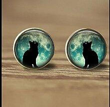 Schwarze Katzen-Ohrstecker mit schwarzem