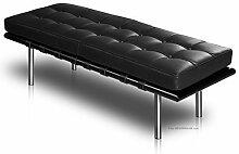 Schwarze Leder Sitzbank. Vollleder und schwarzes Eschenholz. Länge 130 cm. Abbildung Holz Rahmen und (Echt) Leder Schwarz Fuß Edelstahl.