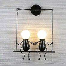 Schwarze moderne Eisenkunst Wandlampe, Retro