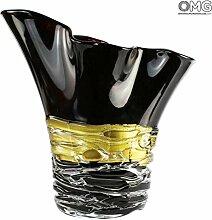 Schwarze Rose - Vase - Original Muranoglas