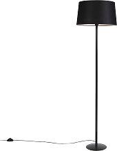 Schwarze Stehlampe mit Leinenschirm schwarz 45 cm
