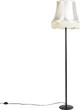 Schwarze Stehlampe mit Oma Schatten Creme 45 cm -