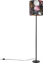 Schwarze Stehlampe mit Veloursschirm Blumen mit