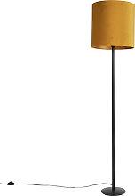 Schwarze Stehlampe mit Veloursschirm Ocker mit