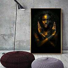 Schwarze und goldene afrikanische nackte Frau, die