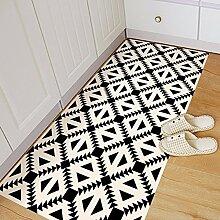 Schwarze und Weiße geometrische Muster minimalistischen Nordic stilvolle Möbel Wohnzimmer Badezimmer Bodenmatte 120*60 cm Aufkleber