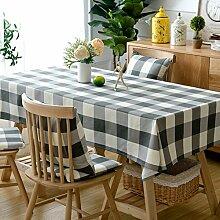 Schwarze und weiße gitter aus baumwolle und leinen tischtuch esszimmer wohnzimmer möbel cover tuch-A 90x135cm(35x53inch)