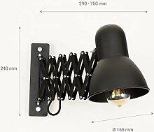 Schwarze Wandlampe mit Schalter E27 ausziehbar