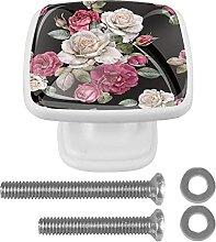 Schwarze weiße rosa Blume, 4 Stück