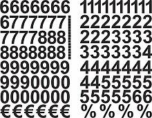 Schwarze Zahlen Aufkleber 3cm Hoch - 117